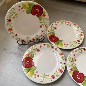 Pier 1 Grace Dinner plates set of 4 new floral